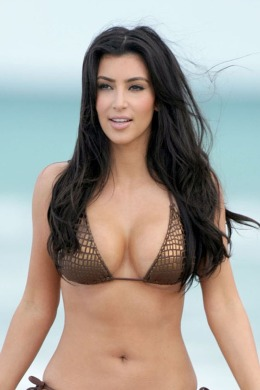 EXCLUSIVE: Kim Kardashian in bikini pictured on the beach in Miami